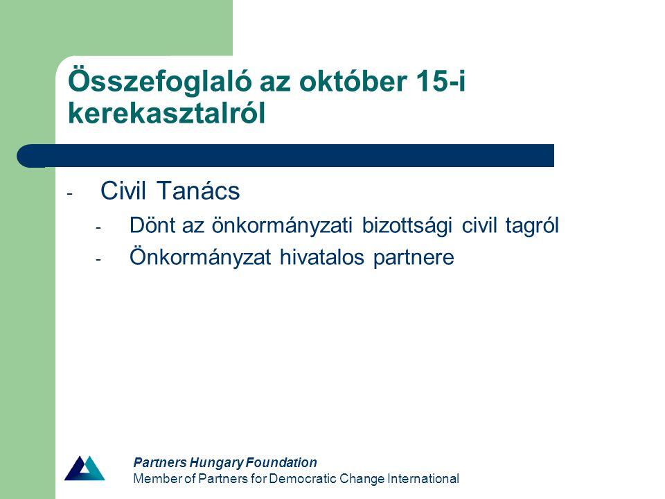 Partners Hungary Foundation Member of Partners for Democratic Change International Mai témák Ami kimaradt: - Civil tanácsra vonatkozó szempontok végigvitele - Kommunikáció – Civil kerekasztal – Civil Tanács - Stratégiai tervezés folyamatának tisztázása