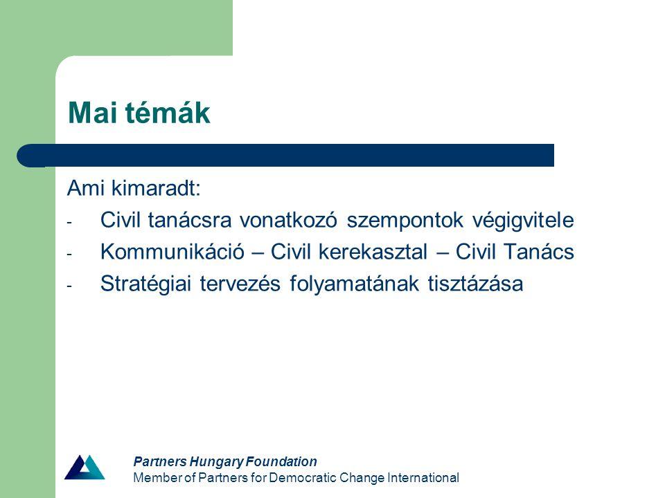 Partners Hungary Foundation Member of Partners for Democratic Change International Stratégiai terv írott dokumentum, a szervezet hosszú távú (3-5 évre szóló) irányvonala egy folyamat eredménye alapkérdések: – Miért létezik a szervezet .