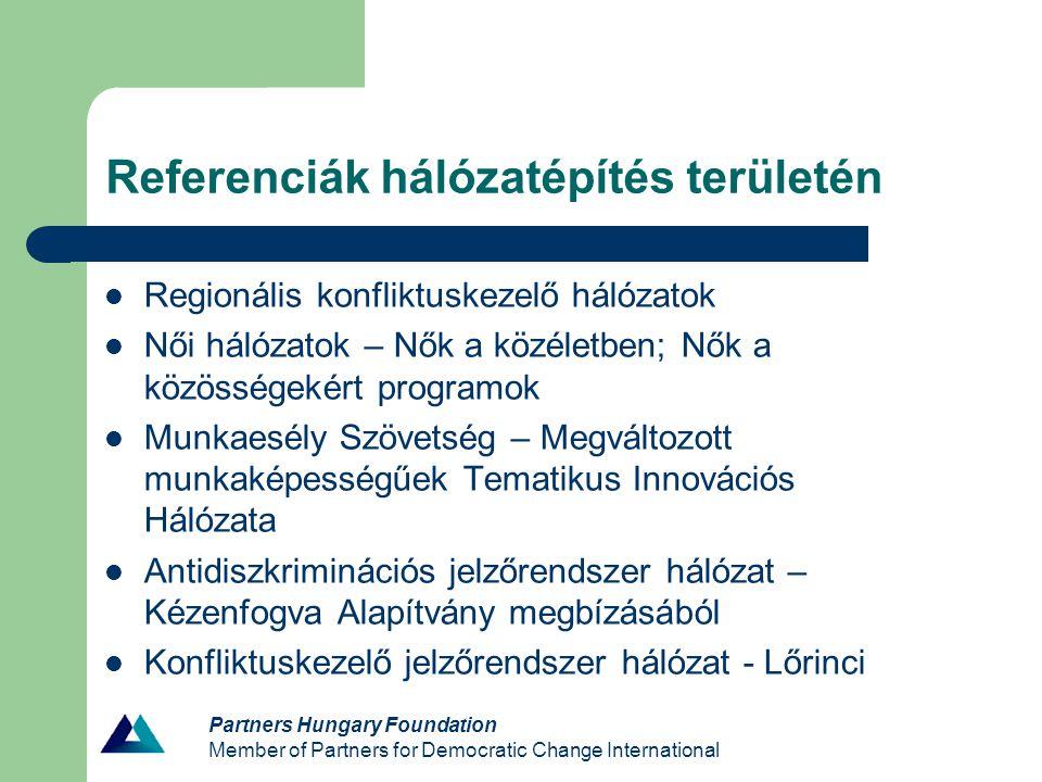 Partners Hungary Foundation Member of Partners for Democratic Change International Referenciák hálózatépítés területén Regionális konfliktuskezelő hál