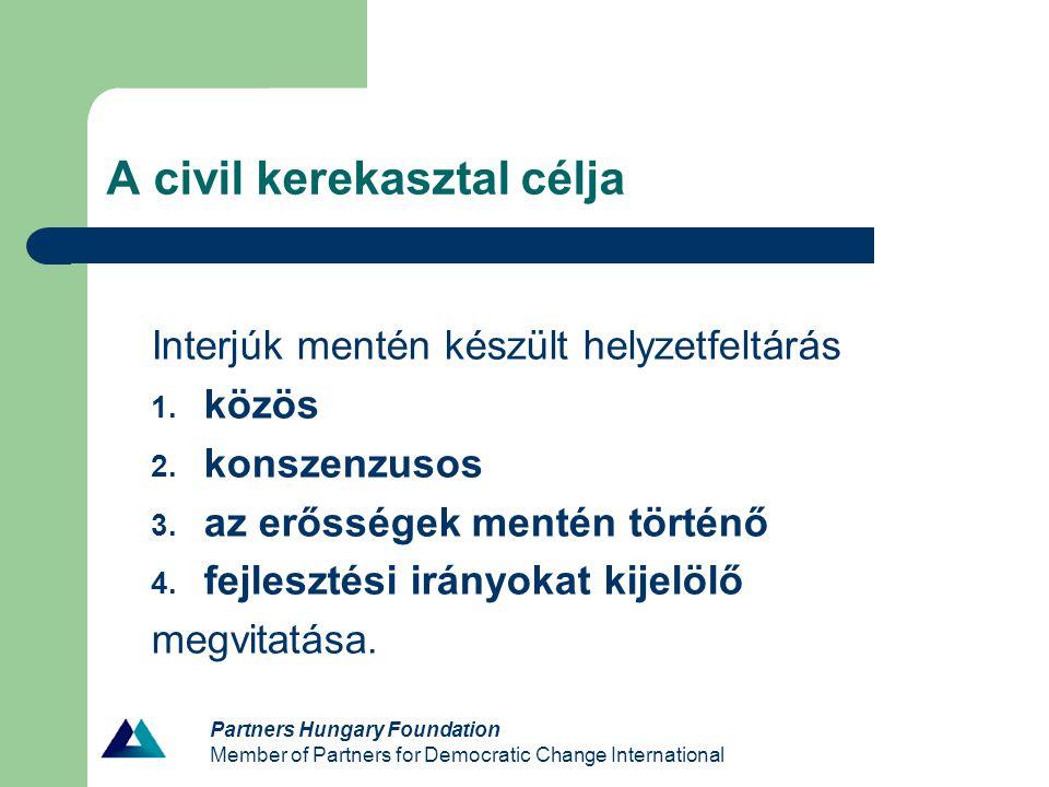 Partners Hungary Foundation Member of Partners for Democratic Change International Kerekasztalok működése - Funkciók (betöltött – hiányzó) - Civil szektor prezentációja - Működés egységességének biztosítása - Részvételi motivációk - Javaslatok szervezésre és összetételre