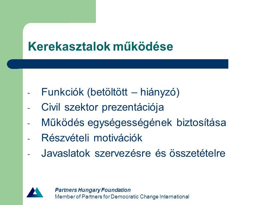 Partners Hungary Foundation Member of Partners for Democratic Change International Kerekasztalok működése - Funkciók (betöltött – hiányzó) - Civil sze