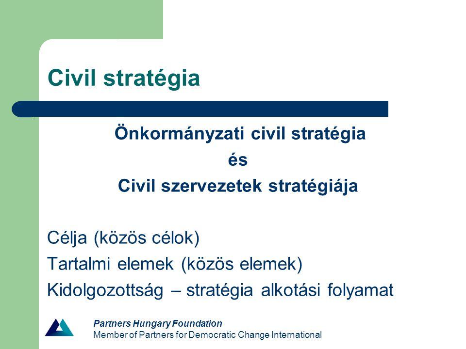 Civil stratégia Önkormányzati civil stratégia és Civil szervezetek stratégiája Célja (közös célok) Tartalmi elemek (közös elemek) Kidolgozottság – str