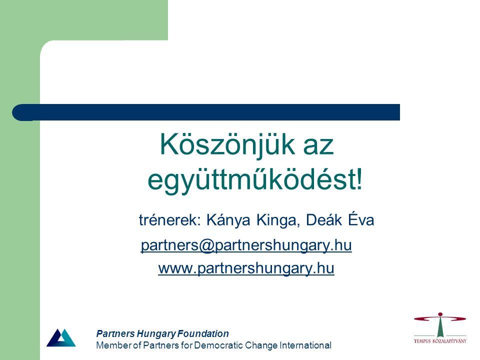 Partners Hungary Foundation Member of Partners for Democratic Change International Köszönjük az együttműködést! trénerek: Kánya Kinga, Deák Éva partne