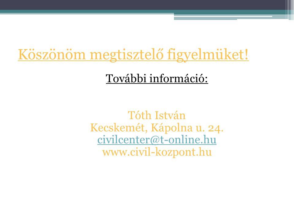 Köszönöm megtisztelő figyelmüket! További információ: Tóth István Kecskemét, Kápolna u. 24. civilcenter@t-online.hu www.civil-kozpont.hu