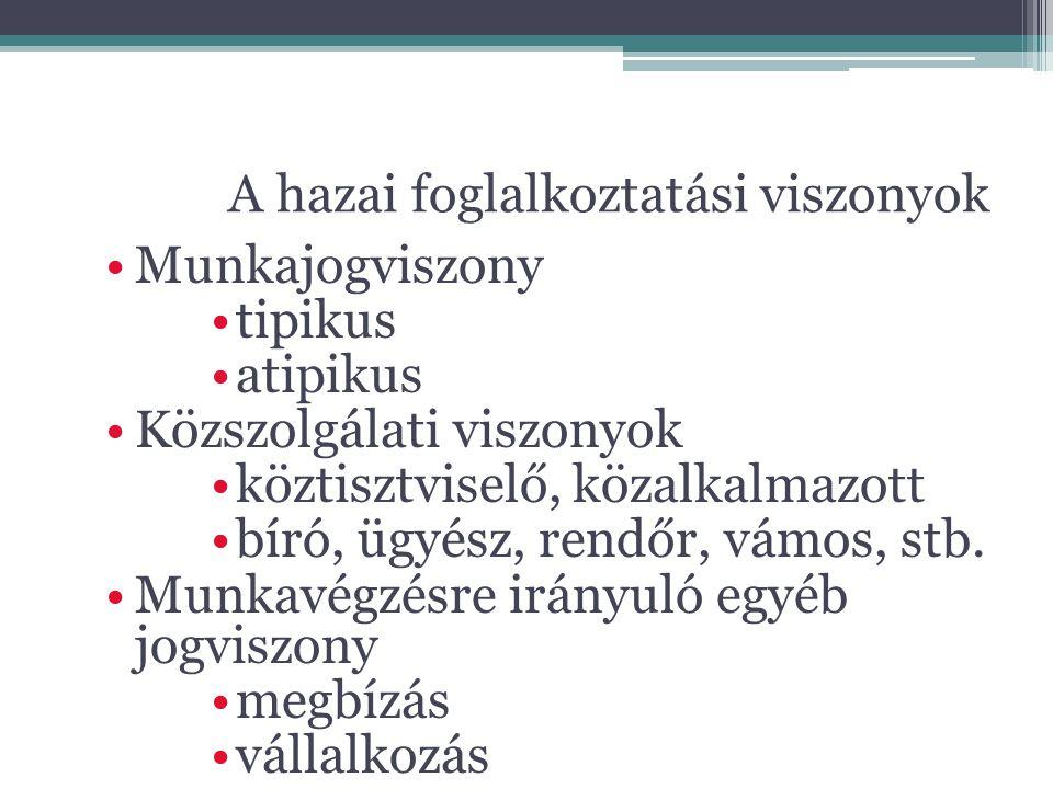A hazai foglalkoztatási viszonyok Munkajogviszony tipikus atipikus Közszolgálati viszonyok köztisztviselő, közalkalmazott bíró, ügyész, rendőr, vámos,
