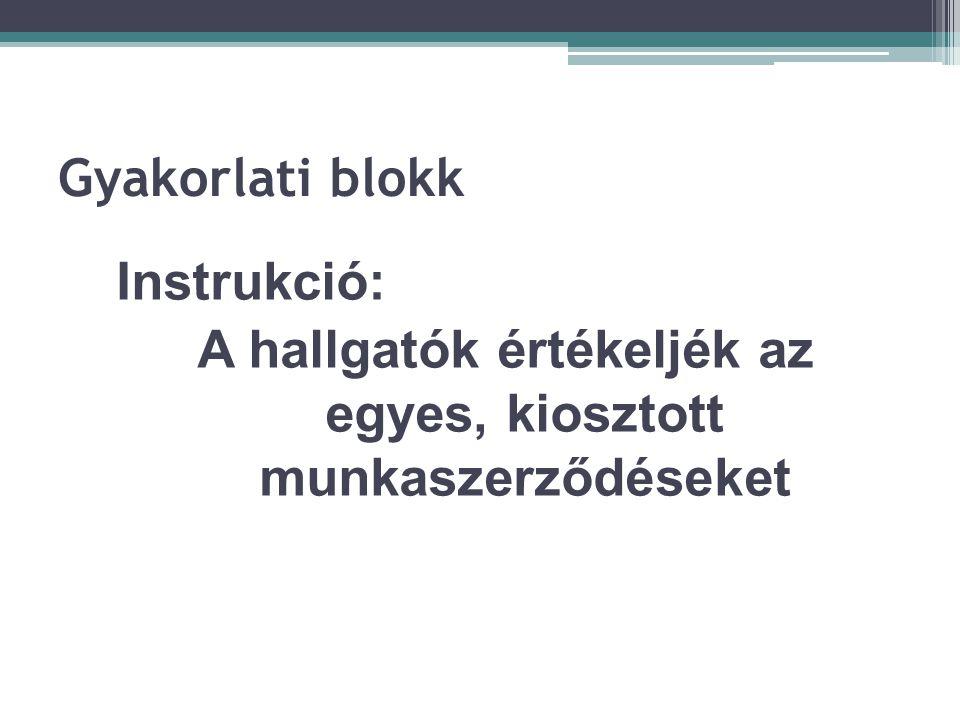 Gyakorlati blokk Instrukció: A hallgatók értékeljék az egyes, kiosztott munkaszerződéseket