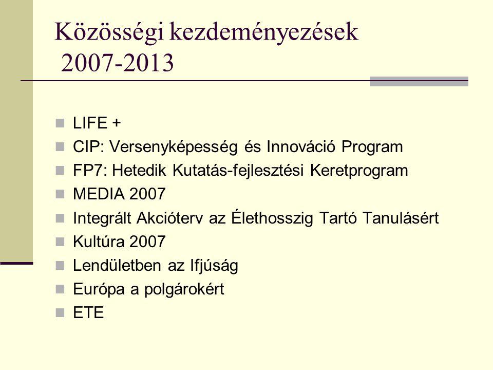 Közösségi kezdeményezések 2007-2013 LIFE + CIP: Versenyképesség és Innováció Program FP7: Hetedik Kutatás-fejlesztési Keretprogram MEDIA 2007 Integrált Akcióterv az Élethosszig Tartó Tanulásért Kultúra 2007 Lendületben az Ifjúság Európa a polgárokért ETE