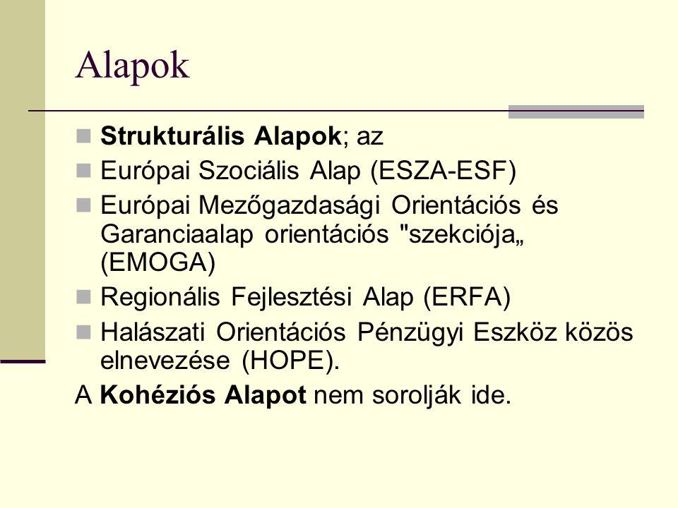 """Alapok Strukturális Alapok; az Európai Szociális Alap (ESZA-ESF) Európai Mezőgazdasági Orientációs és Garanciaalap orientációs szekciója"""" (EMOGA) Regionális Fejlesztési Alap (ERFA) Halászati Orientációs Pénzügyi Eszköz közös elnevezése (HOPE)."""