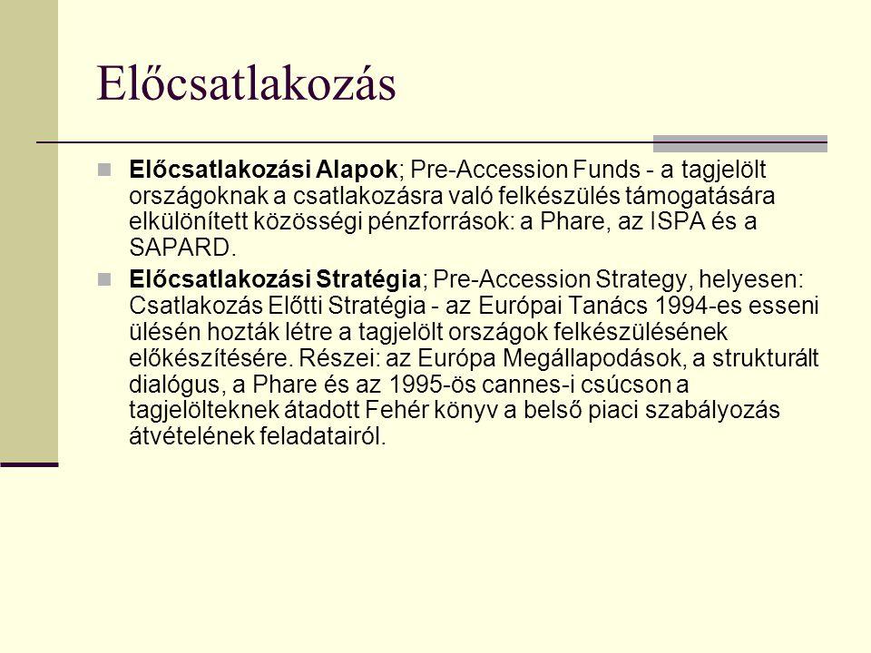 Előcsatlakozás Előcsatlakozási Alapok; Pre-Accession Funds - a tagjelölt országoknak a csatlakozásra való felkészülés támogatására elkülönített közösségi pénzforrások: a Phare, az ISPA és a SAPARD.