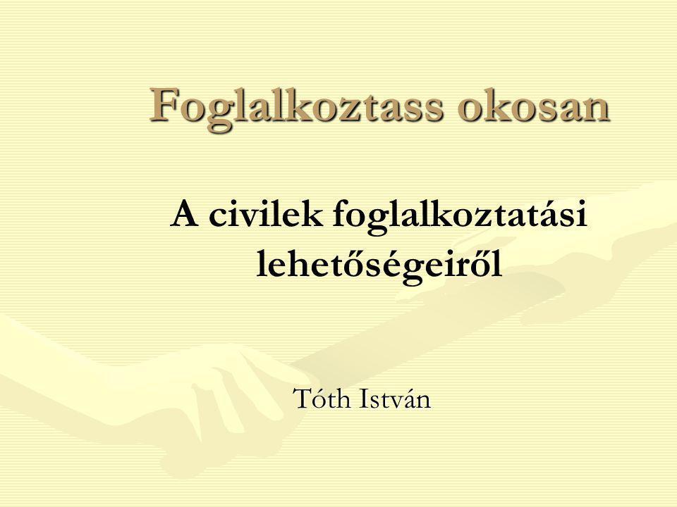 Foglalkoztass okosan Foglalkoztass okosan A civilek foglalkoztatási lehetőségeiről Tóth István