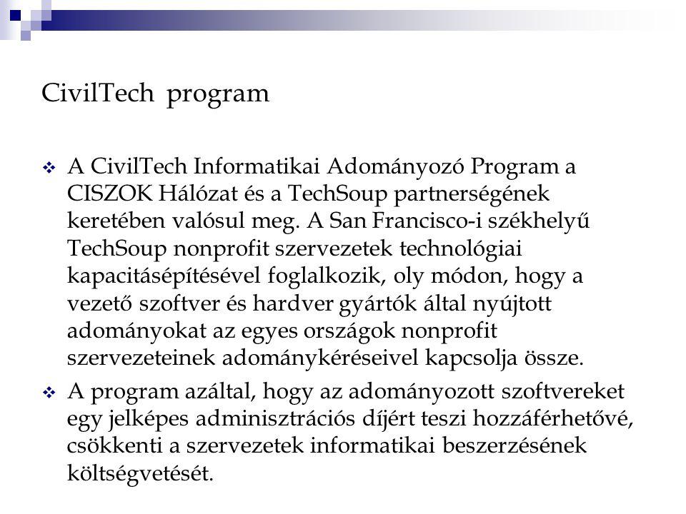 CivilTech program  A CivilTech Informatikai Adományozó Program a CISZOK Hálózat és a TechSoup partnerségének keretében valósul meg.