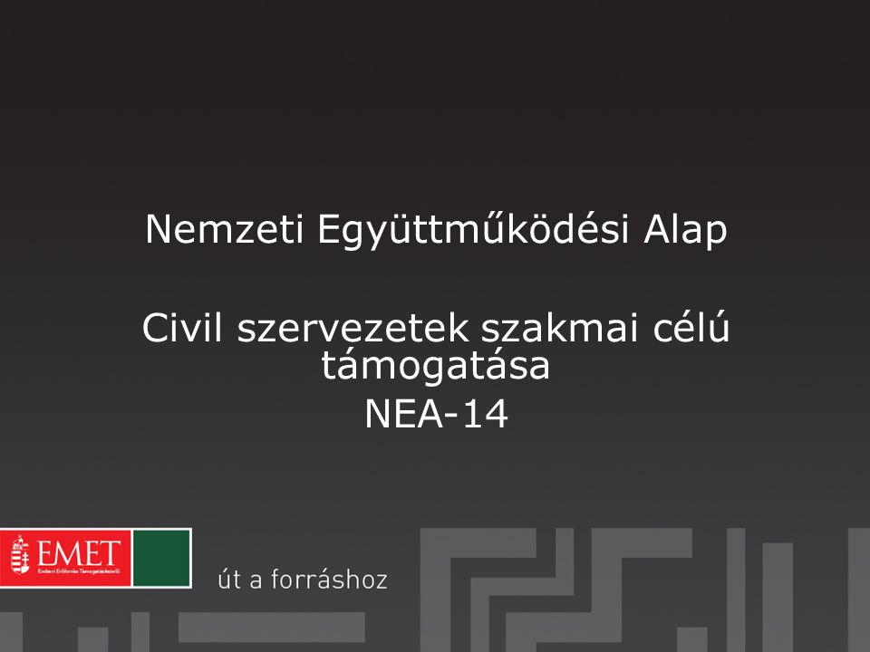 Nemzeti Együttműködési Alap Civil szervezetek szakmai célú támogatása NEA-14
