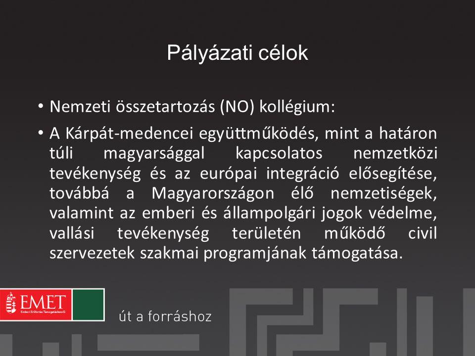 Pályázati célok Nemzeti összetartozás (NO) kollégium: A Kárpát-medencei együttműködés, mint a határon túli magyarsággal kapcsolatos nemzetközi tevékenység és az európai integráció elősegítése, továbbá a Magyarországon élő nemzetiségek, valamint az emberi és állampolgári jogok védelme, vallási tevékenység területén működő civil szervezetek szakmai programjának támogatása.