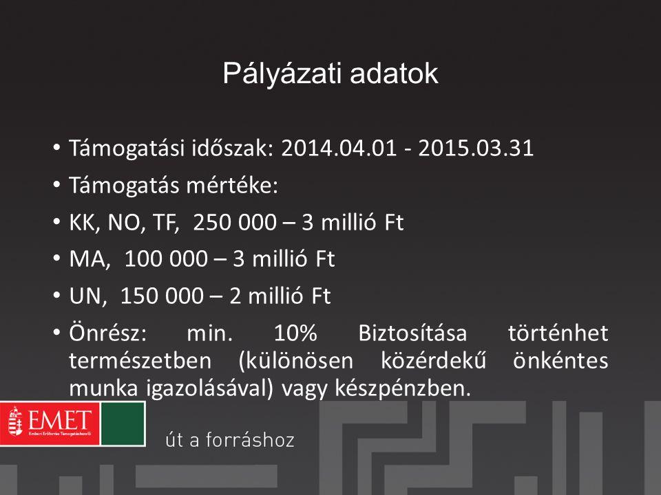 Pályázati adatok Támogatási időszak: 2014.04.01 - 2015.03.31 Támogatás mértéke: KK, NO, TF, 250 000 – 3 millió Ft MA, 100 000 – 3 millió Ft UN, 150 000 – 2 millió Ft Önrész: min.