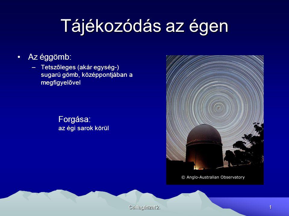 Csillagászat 2.1 Tájékozódás az égen Az éggömb: –Tetszőleges (akár egység-) sugarú gömb, középpontjában a megfigyelővel Forgása: az égi sarok körül