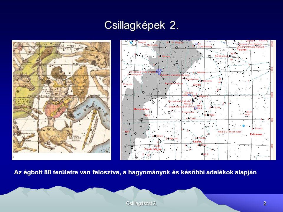 Csillagászat 2.2 Csillagképek 2. Az égbolt 88 területre van felosztva, a hagyományok és későbbi adalékok alapján
