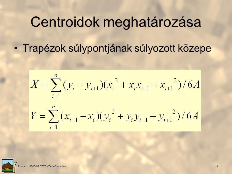 Phare HU0008-02 SZTE - Térinformatika 15 Centroidok meghatározása Trapézok súlypontjának súlyozott közepe