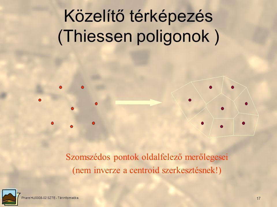 Phare HU0008-02 SZTE - Térinformatika 16 Centroidok meghatározása Trapézok súlypontjának súlyozott közepe