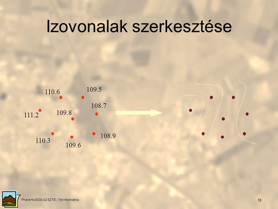 Phare HU0008-02 SZTE - Térinformatika 17 Közelítő térképezés (Thiessen poligonok ) Szomszédos pontok oldalfelező merőlegesei (nem inverze a centroid s