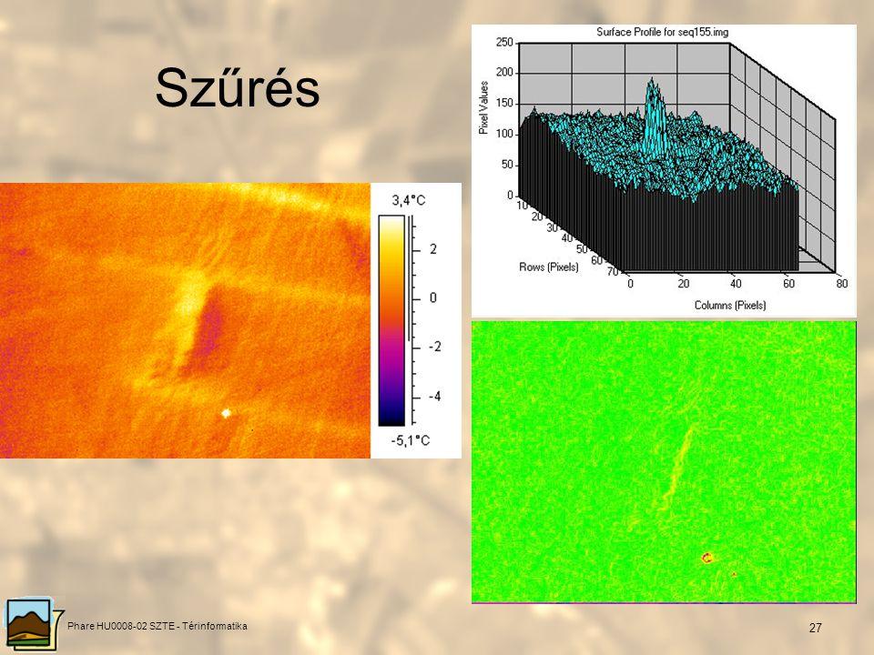 Phare HU0008-02 SZTE - Térinformatika 26 Szűrés Eredeti és szűrt termofelvétel felszín alatti meleg csővezetékről