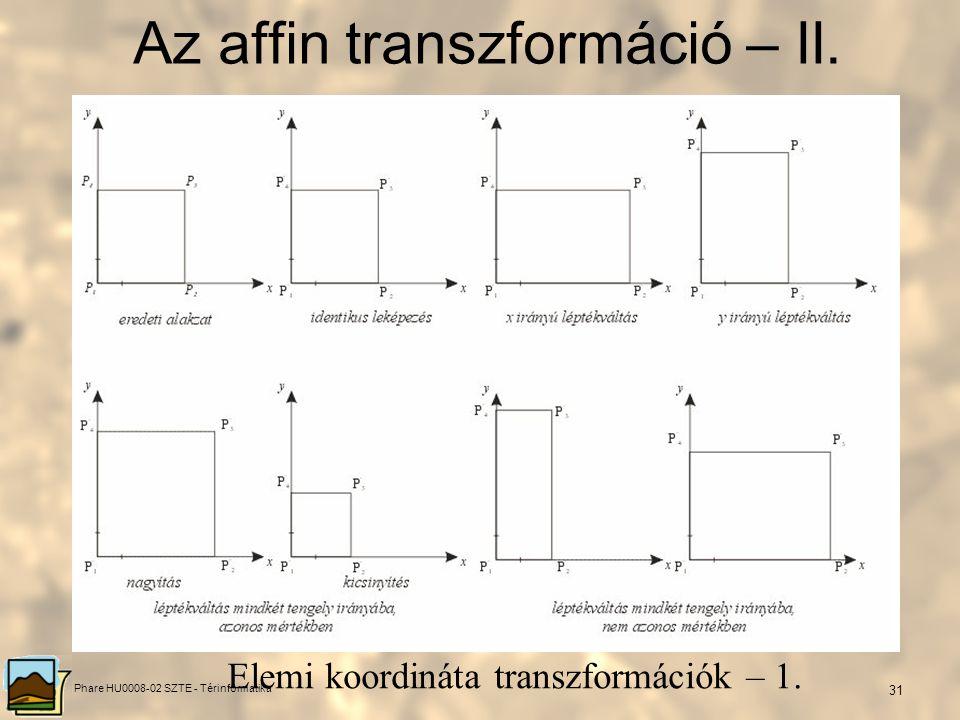 Phare HU0008-02 SZTE - Térinformatika 30 Az affin transzformáció – I. Az affin transzformáció fogalma Egy síknak önmagára vagy egy másik síkra való af