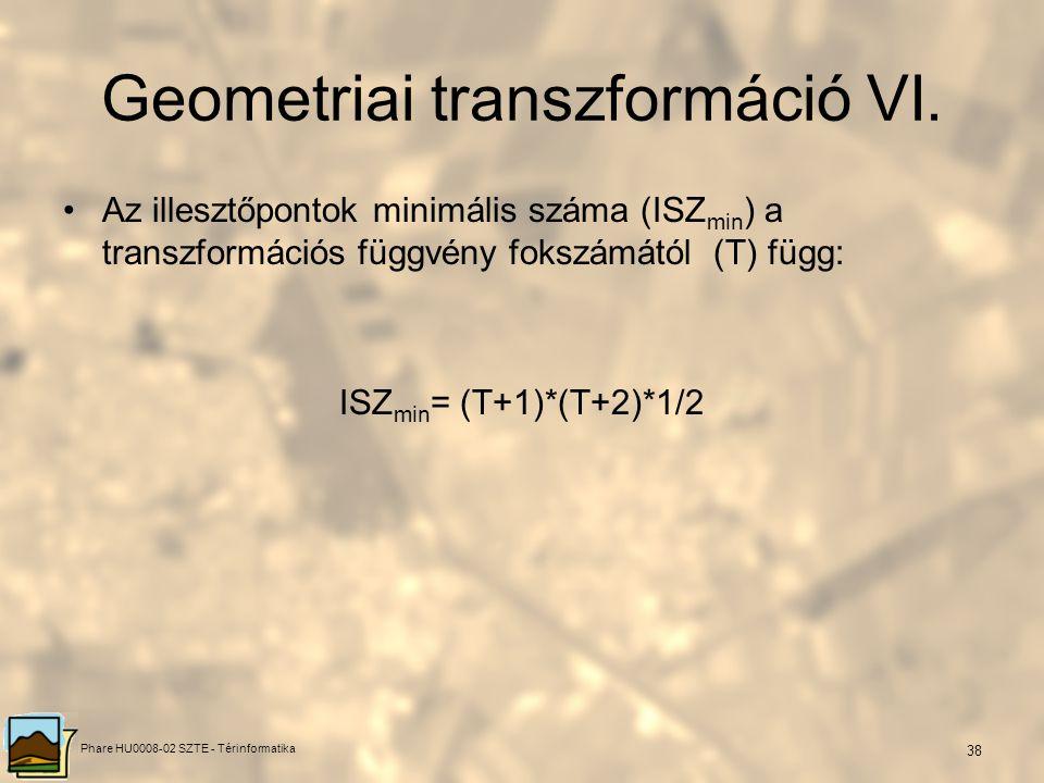 Phare HU0008-02 SZTE - Térinformatika 37 b, transzformációs függvény keresése, megadása, f(x,y)=(X,Y) 1, transzformációs függvény fokszáma, rangja (el