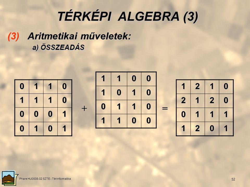 Phare HU0008-02 SZTE - Térinformatika 51 TÉRKÉPI ALGEBRA (2) (2) Eltolás (transzláció): egy fedvény raszterelemeinek értékét valamely értékkel, valami