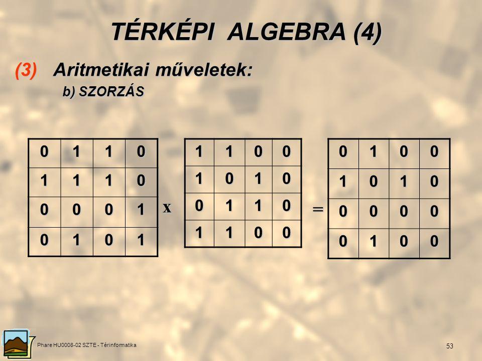 Phare HU0008-02 SZTE - Térinformatika 52 TÉRKÉPI ALGEBRA (3) (3) Aritmetikai műveletek: a) ÖSSZEADÁS 0110 1110 0001 0101 11001010 0110 1100 12102120 0