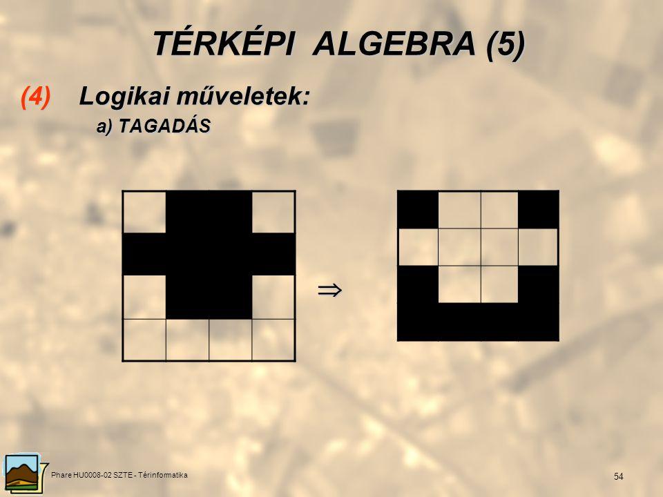 Phare HU0008-02 SZTE - Térinformatika 53 TÉRKÉPI ALGEBRA (4) (3) Aritmetikai műveletek: b) SZORZÁS 0110 1110 0001 010111001010 0110 110001001010 0000