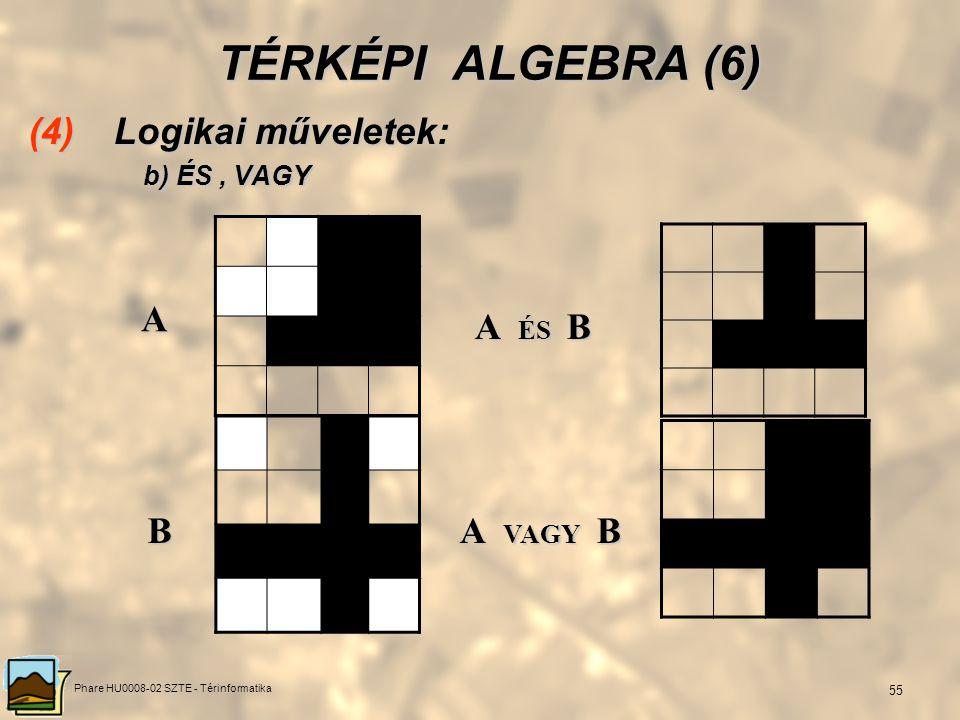 Phare HU0008-02 SZTE - Térinformatika 54 TÉRKÉPI ALGEBRA (5) (4) Logikai műveletek: a) TAGADÁS a) TAGADÁS 