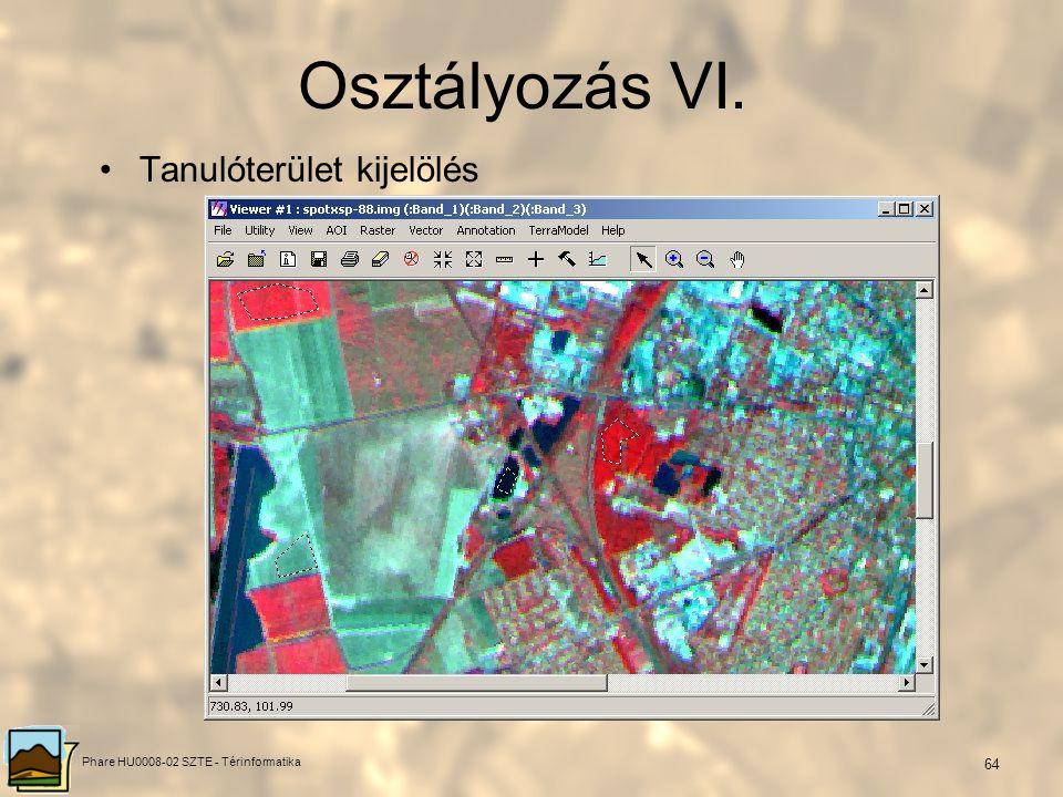Phare HU0008-02 SZTE - Térinformatika 63 Irányított osztályozás –Lényege: megtanítani az informatikai rendszert arra, hogy az általunk meghatározott o