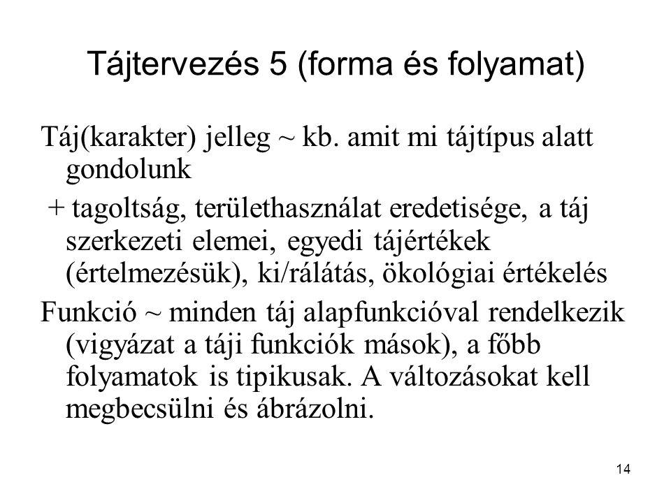 14 Tájtervezés 5 (forma és folyamat) Táj(karakter) jelleg ~ kb. amit mi tájtípus alatt gondolunk + tagoltság, területhasználat eredetisége, a táj szer