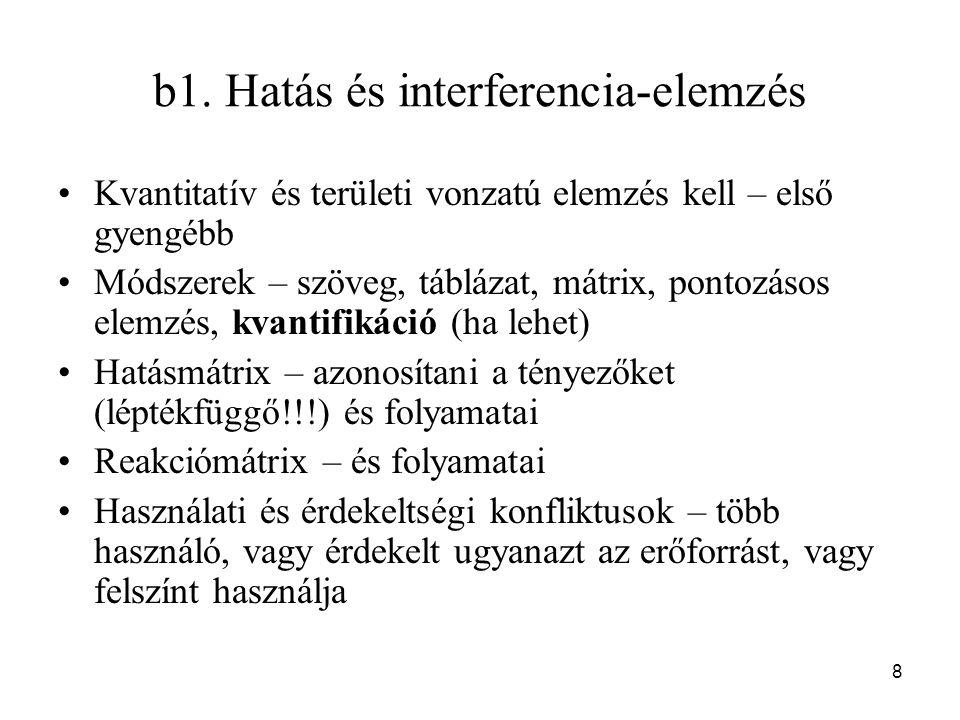 8 b1. Hatás és interferencia-elemzés Kvantitatív és területi vonzatú elemzés kell – első gyengébb Módszerek – szöveg, táblázat, mátrix, pontozásos ele