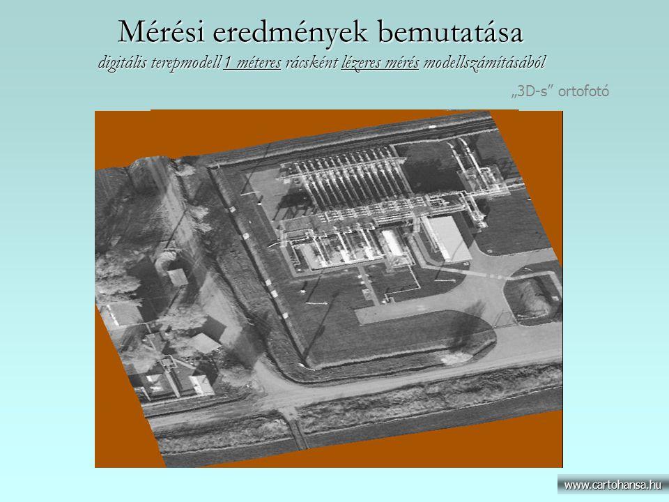 """Mérési eredmények bemutatása digitális terepmodell 1 méteres rácsként lézeres mérés modellszámításából www.cartohansa.hu """"3D-s"""" ortofotó"""
