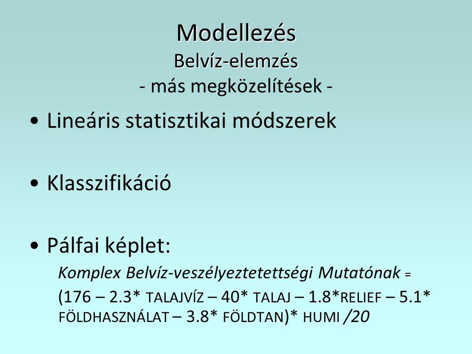 Modellezés Belvíz-elemzés Modellezés Belvíz-elemzés - más megközelítések - Lineáris statisztikai módszerek Klasszifikáció Pálfai képlet: Komplex Belví