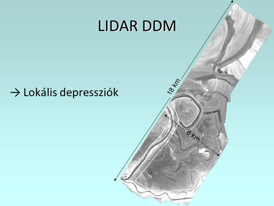 LIDAR DDM → Lokális depressziók 18 km 6 km