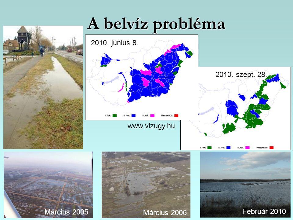 A belvíz probléma Március 2005 Március 2006 Február 2010 2010. június 8. 2010. szept. 28. www.vizugy.hu