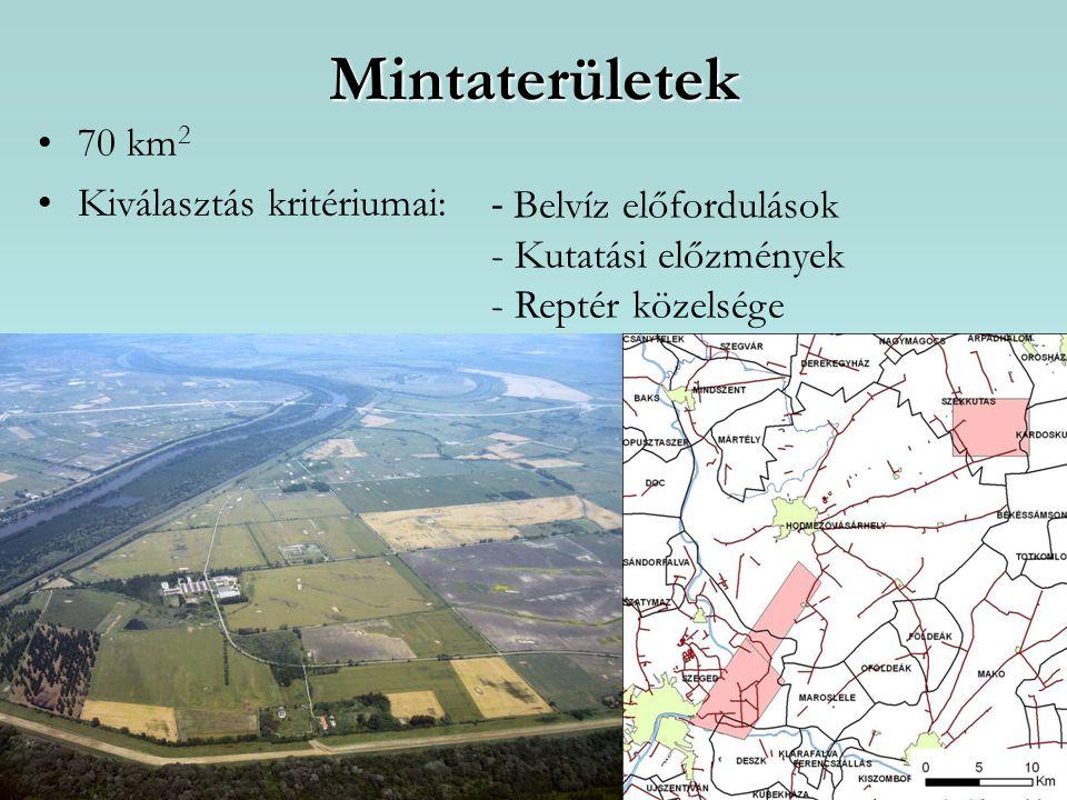 Mintaterületek 70 km 2 Kiválasztás kritériumai: - Belvíz előfordulások - Kutatási előzmények - Reptér közelsége