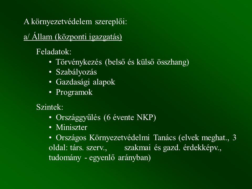 A környezetvédelem szereplői: a/ Állam (központi igazgatás) Feladatok: Törvénykezés (belső és külső összhang) Szabályozás Gazdasági alapok Programok S