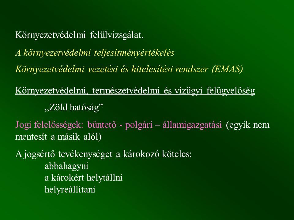 Környezetvédelmi felülvizsgálat. A környezetvédelmi teljesítményértékelés Környezetvédelmi vezetési és hitelesítési rendszer (EMAS) Környezetvédelmi,
