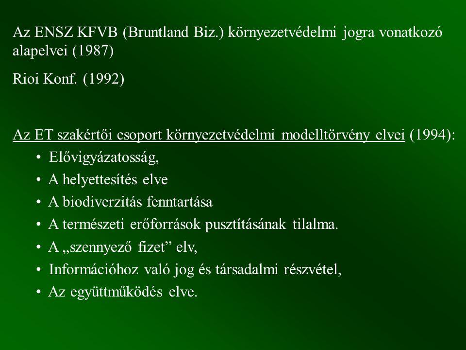 Az ENSZ KFVB (Bruntland Biz.) környezetvédelmi jogra vonatkozó alapelvei (1987) Rioi Konf. (1992) Az ET szakértői csoport környezetvédelmi modelltörvé