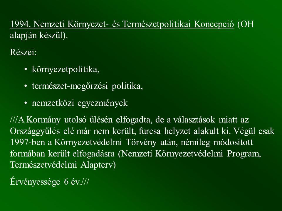 1994. Nemzeti Környezet- és Természetpolitikai Koncepció (OH alapján készül). Részei: környezetpolitika, természet-megőrzési politika, nemzetközi egye
