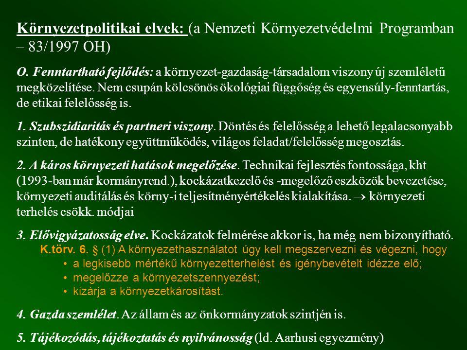 Környezetpolitikai elvek: (a Nemzeti Környezetvédelmi Programban – 83/1997 OH) O. Fenntartható fejlődés: a környezet-gazdaság-társadalom viszony új sz