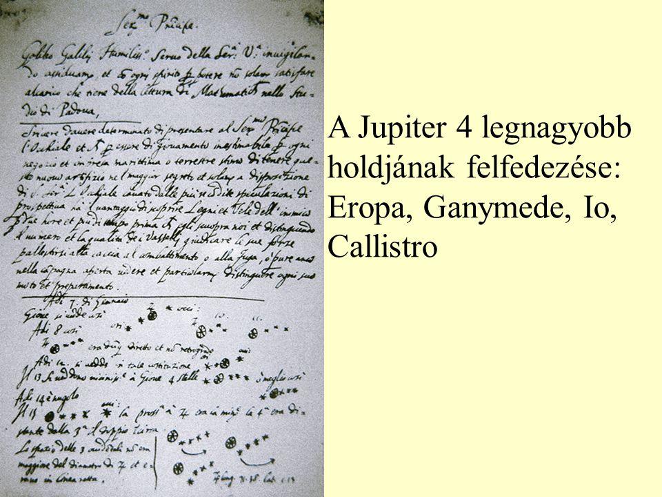 A Jupiter 4 legnagyobb holdjának felfedezése: Eropa, Ganymede, Io, Callistro