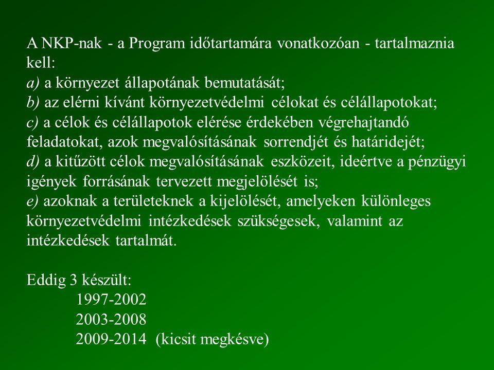 A NKP-nak - a Program időtartamára vonatkozóan - tartalmaznia kell: a) a környezet állapotának bemutatását; b) az elérni kívánt környezetvédelmi célok