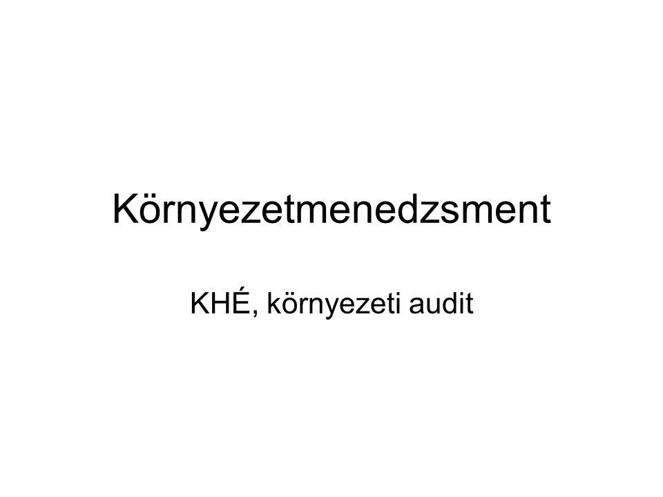 Környezetmenedzsment KHÉ, környezeti audit