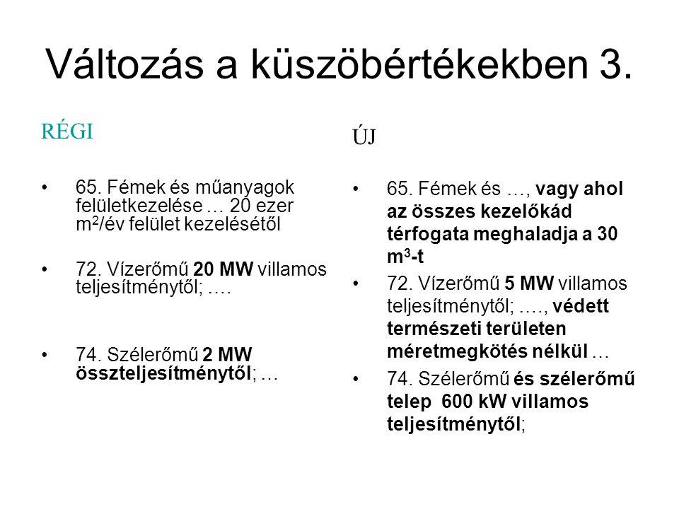 Változás a küszöbértékekben 3. RÉGI 65. Fémek és műanyagok felületkezelése … 20 ezer m 2 /év felület kezelésétől 72. Vízerőmű 20 MW villamos teljesítm