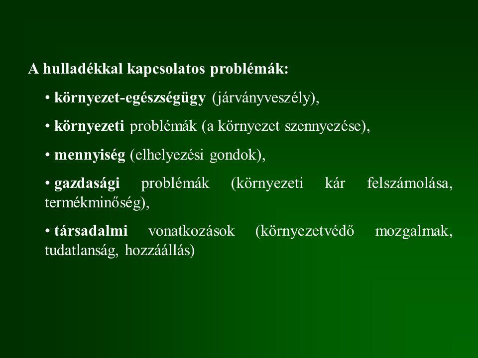 A hulladékkal kapcsolatos problémák: környezet-egészségügy (járványveszély), környezeti problémák (a környezet szennyezése), mennyiség (elhelyezési gondok), gazdasági problémák (környezeti kár felszámolása, termékminőség), társadalmi vonatkozások (környezetvédő mozgalmak, tudatlanság, hozzáállás)