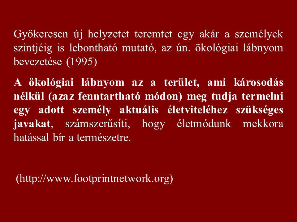 Gyökeresen új helyzetet teremtet egy akár a személyek szintjéig is lebontható mutató, az ún. ökológiai lábnyom bevezetése (1995) A ökológiai lábnyom a