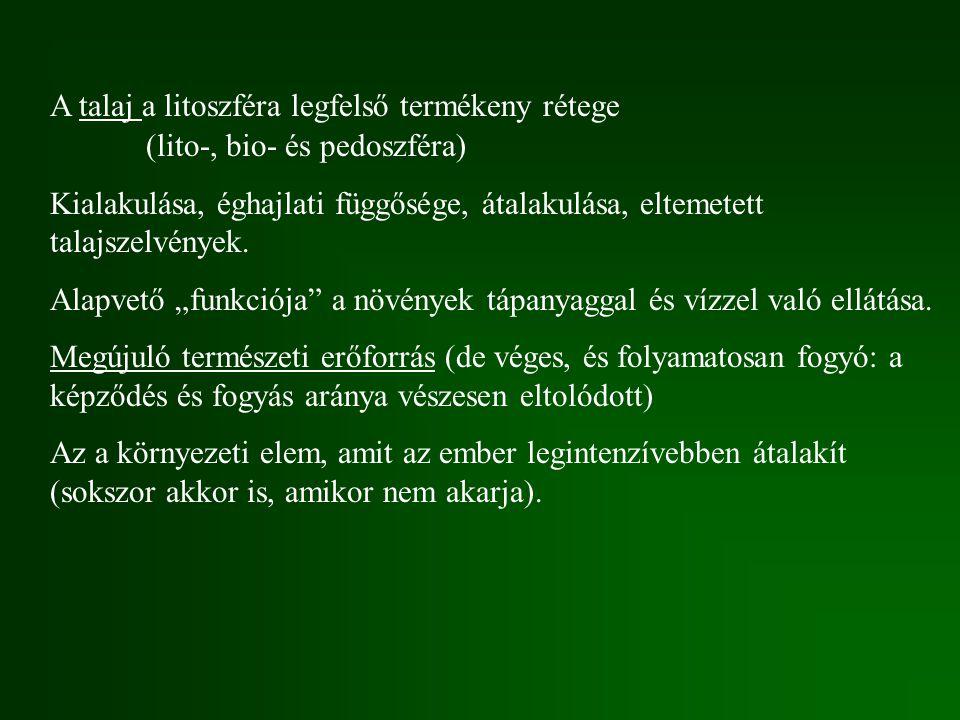Műtrágyázás szerepe (tápanyagpótlás ill.környezetszennyezés) Zöldforradalom.